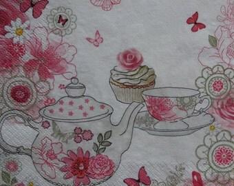 2 Kitchen Napkins, Kitchen Theme Napkin, Teapot Napkin, Pink Floral Napkin, Decoupage Napkin, Collage Napkin, Lunch Napkins (PINK TEAPOT)