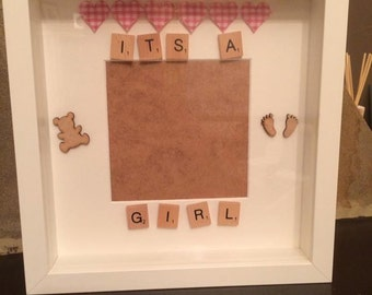 its a girl new baby picture frame