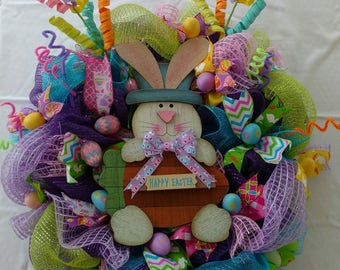 Colorful, Spiral, Whimsical, Easter Eggs, Happy Easter Wreath