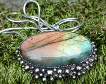 Rainbow Waters: Granulated Sterling and Labradorite