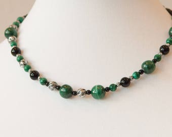 Evergreen: malachite and sterling silver asymmetrical necklace