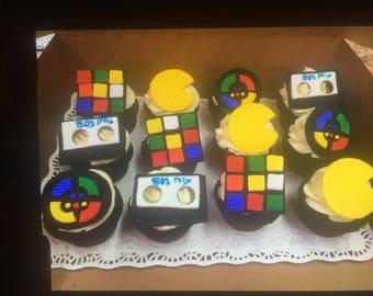 80s Fondant Cupcake Toppers (12 asst.)