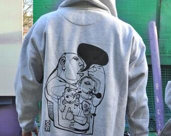 Vesart: RaveAid Hoodie. Grey w/ Black Print.  (All profits to charity)