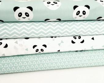 Mint Green Panda Fat Quarter Bundle