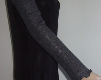 Mittens-sleeve long beautiful dark gray mohair soft wire