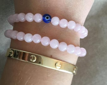 Duo of Stunning handmade pale pink Rose Quartz beaded Bracelets with a Turkish Glass Evil Eye Gemstone Two