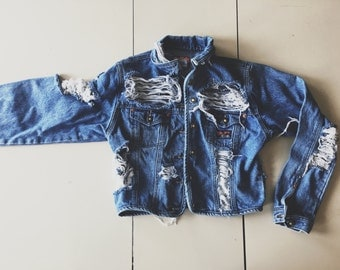 Destroyed Denim Jacket (several sizes available, washes may vary depending on size selected)