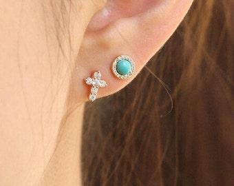 Gold Cross Earrings, cross gold earrings, sterling silver cross stud earrings, Cross Simple Earrings, Simple Gold cross Earrings