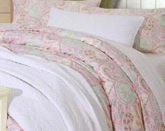 Classic Paisley Cottage French Shabby Egyption Cotton Duvet Cover Sheet Set Bedding