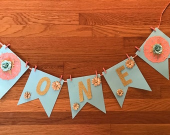 One High Chair Banner, Girl One Banner, Floral 1st Birthday, First Birthday Girl Banner, Smash Cake Banner, Floral Glitter Gold Banner