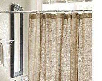 Natural Burlap Shower Curtain Handmade 72 Wide Custom Length Available Each  Panel Country Look Rustic Home