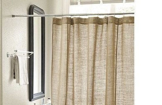 Description Natural Burlap Shower Curtain