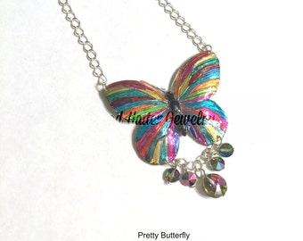 Enameled Butterfly Necklace with Crystal Drops