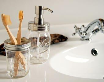 Kerr Mason soap dispenser & toothbrush holder set - Kerr SOAP jar set