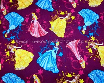 gz006 - 1 Yard Cotton Woven Fabric - Cartoon Characters, Disney Princess, Sleeping Beauty, Belle, Cinderella - Violet Purple (W105)