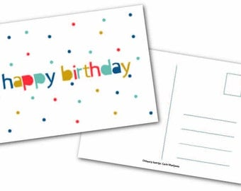 Greeting card ' Happy birthday ', dots