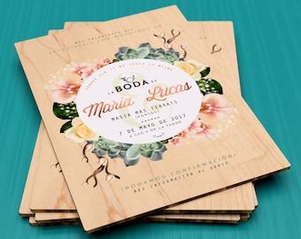 Invitations printed on wood