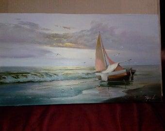 "Original oil painting: landscape ""Fisherman boat"", canvas, varnish"
