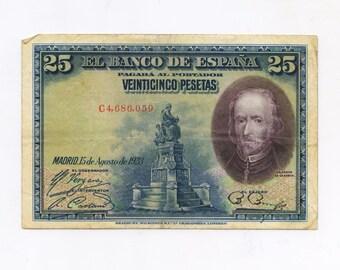25 pesetas Banknote 1928