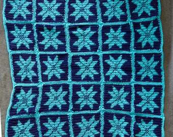 Blue and teal squares with stars