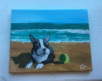 8x10 Boston Terrier on a Beach Painting