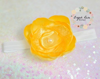 Yellow Flower Headband //Beauty and the Beast // Belle // Easter // Spring // First birthday // Singed Satin Flower // Handmade