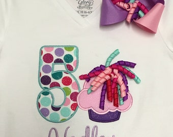 Girls Birthday Cupcake Shirt with korkers, personalized, matching bow