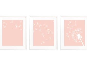 Blush Girls Room Decor, Blush Wall Art, Pink Room Decor, Dandelion Print, Blush Pink Nursery Art, Wall Art Printable, Pink Nursery Decor