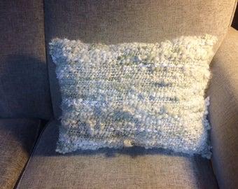 """Hand Spun, Hand Woven, Art Yarn Pillow """"Mint"""""""