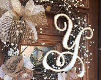 Rustic intial wreath
