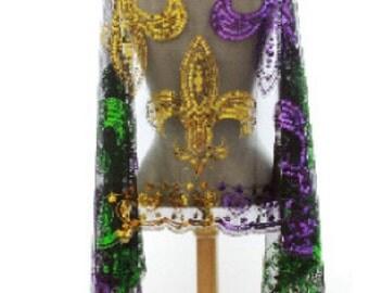 Mardi Gras Fleur de Lis Sequined Shawl