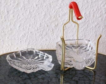 Mid century ashtray made of crystal glass in brass stands - original 50s 60s - table decorations for the party