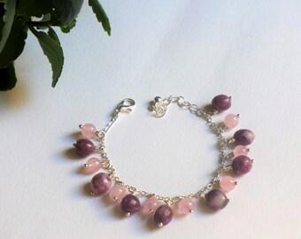 Silver charms bracelet rose quartz and tourmaline