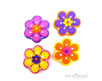 Flower Magents, Polymer Clay Magnets, Bright Fun Magnets, Refrigerator Magnets, Whimsical Art, Clay Art Decoration