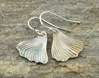 Ginkgo leaf earrings, fine silver, Irina Miech metal clay