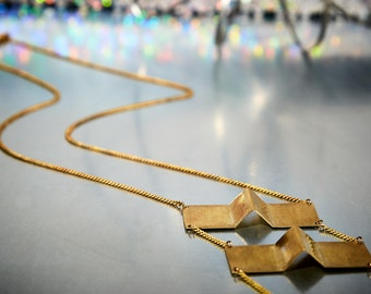Long Brass Necklace Triangle, Geometric Necklace Brass, Boho Necklace, Architectural Jewelry, Hipster, Contemporary, Handmade, Berlin