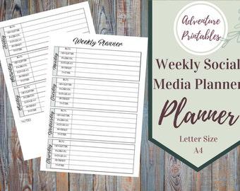 Weekly Social Media Post Planner Printable, Online Marketing Planner, Marketing Form, Small Business Marketing Plan, Social Media Management