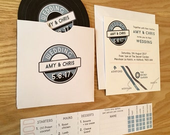 Printable Retro Vinyl Record Wedding Invitation, Digital Template - fully customised!