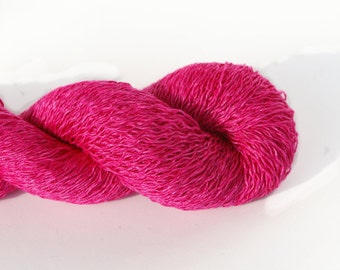 100% Linen Hot Pink Lace Weight Recycled Yarn
