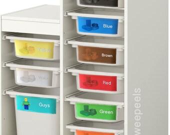Lego Colour Organizer, Lego Organizer, Lego Storage Decals, Lego Color Sorter, Lego Toy Bins, Lego Decals, Colour sorting Lego labels