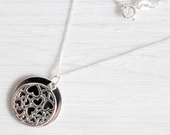 925 Sterling Silver Double Disc with Hearts Necklace with Personalised Engraving, Includes Gift Box & Free Shipping