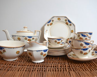 Vintage Tea Set by HK Tunstall - Pretty Tea Pot, Cups and Saucers, Plates, Creamer and Bowl