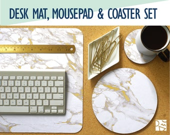 White Marble and Gold Print Desk Mat, Mouse Pad & Coaster Set  -Desk Accessory Set