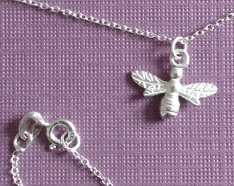 Bee charm necklace (Sterling silver)