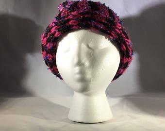 Vertically striped knit hat