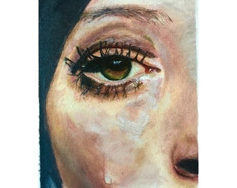 "Original Oil Painting entitled ""Tomorrow I'll forgive this tear"""