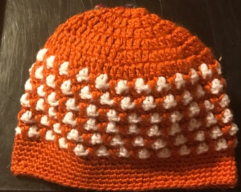 Orange and white beanie