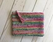 Rainbow Zipper Pouch, crochet clutch, crochet makeup bag, crochet pencil case