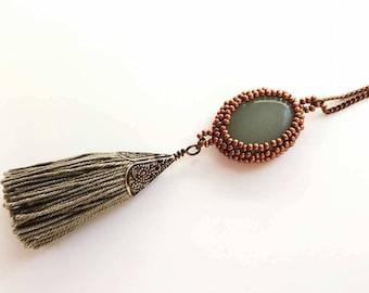 Rustic copper tone necklace - glow in the dark