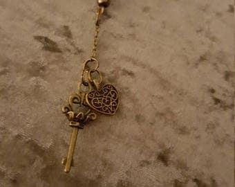 Heart and key key charm